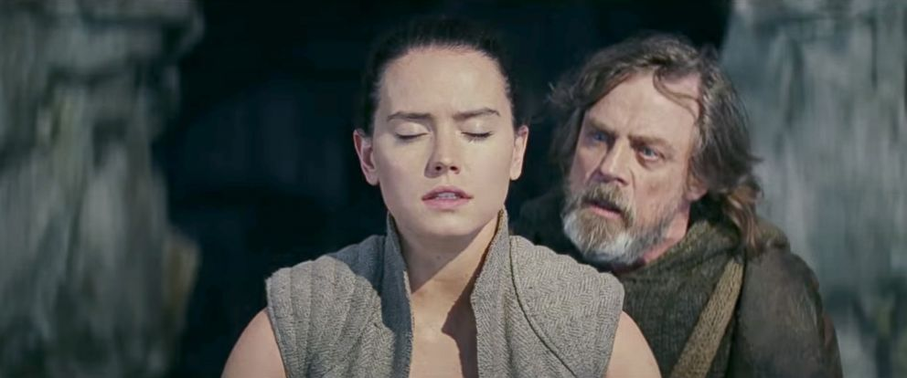 Daisy Ridley as Rey and Mark Hamill as Luke Skywalker in 'Star Wars: The Last Jedi'