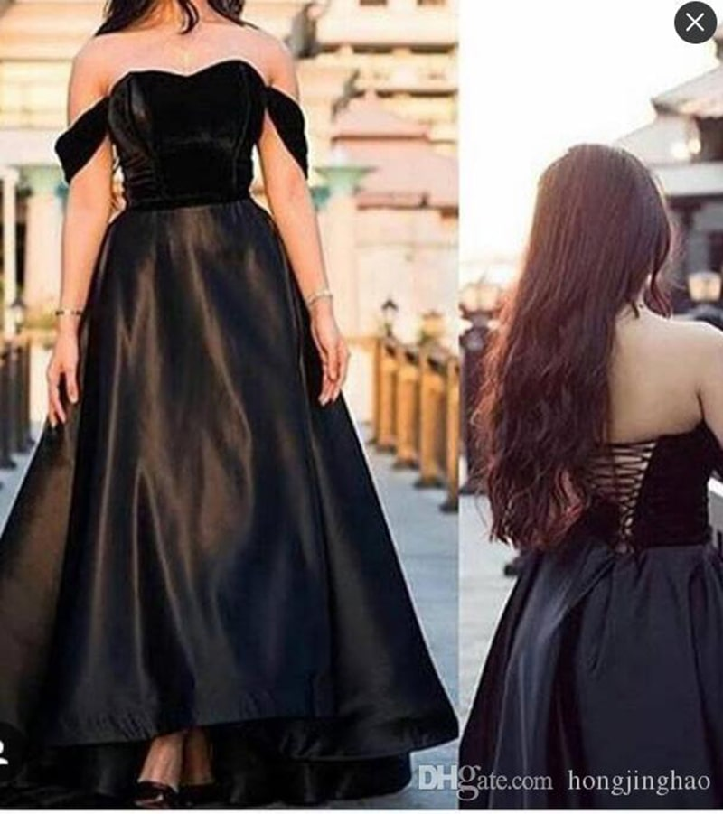 Black Satin Ball Gown Evening Off The Shoulder A-Line Robe De Soiree Formal Prom Party Gowns