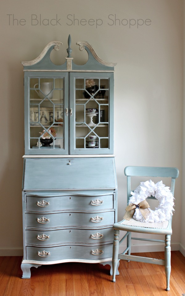 Vintage secretary desk and chair painted in Duck Egg Blue.
