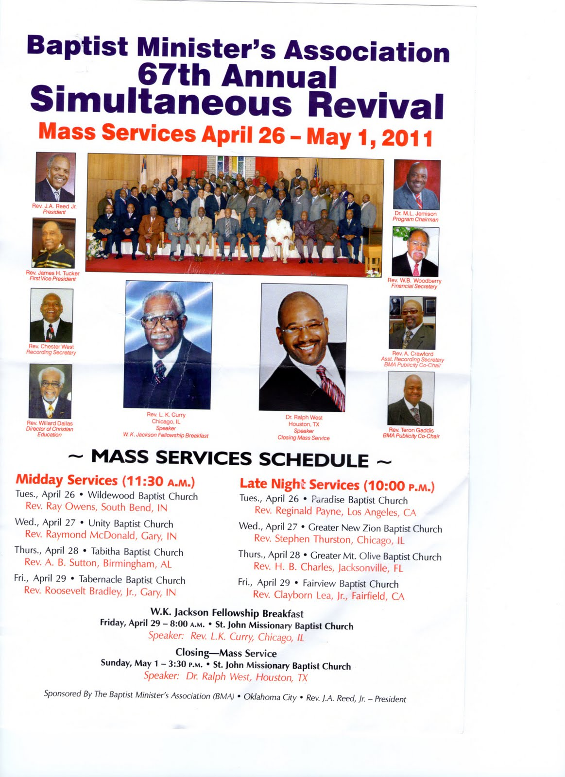 Pastor Rev  Ray E  Owens: 67th BMA Revival Services in OKC