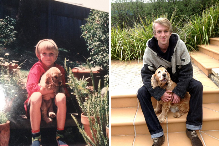 30 Heart-Warming Photos Of Dogs Growing Up Together With Their Owners - Suggested I Drop This Here. Meet Sasha And I, Then And Now
