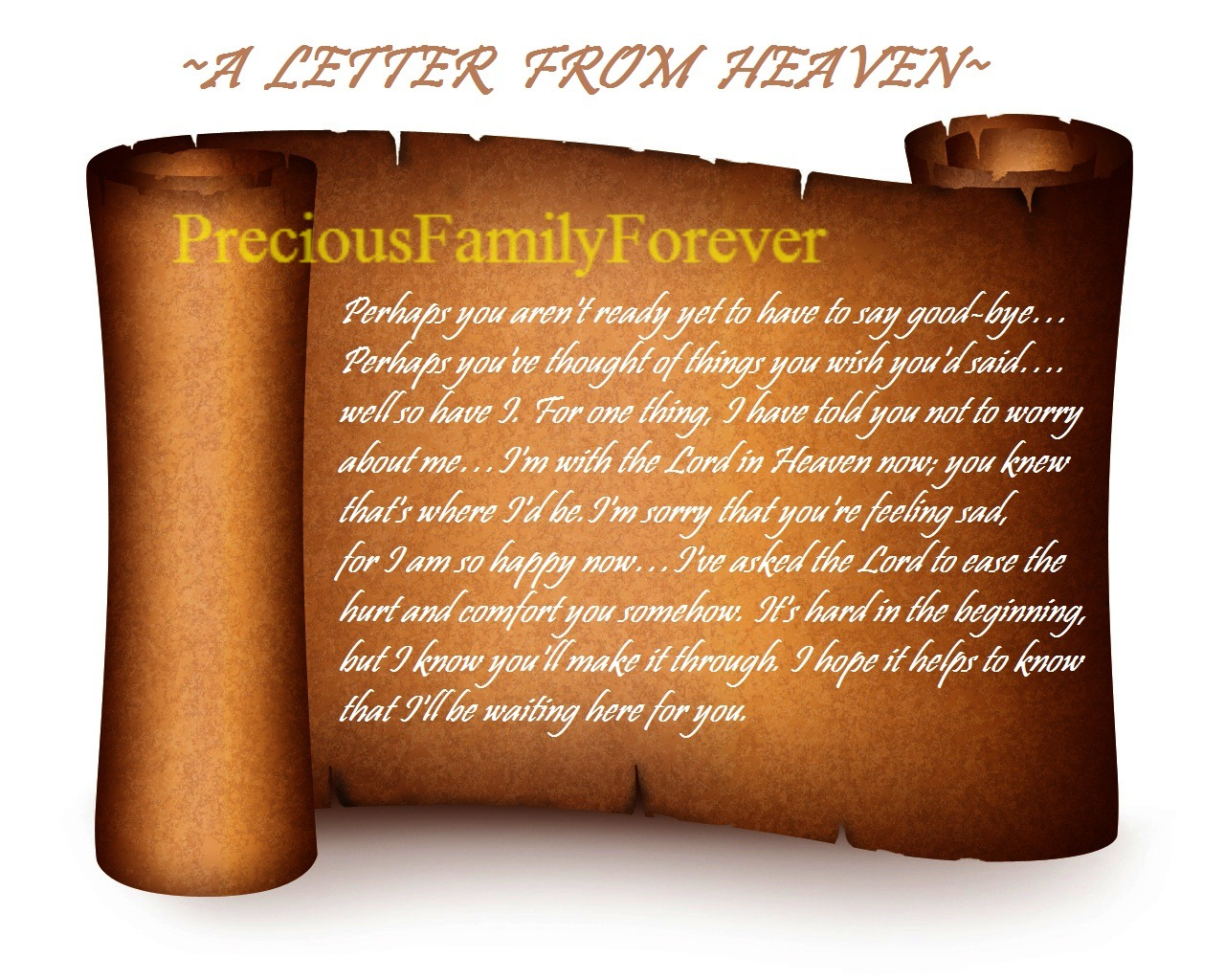 Precious Family A Letter From Heaven