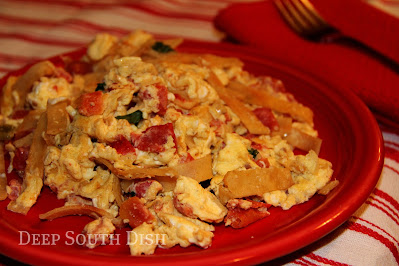 Eggs, scrambled with hot peppers and tomatoes, and tossed with crispy fried tortilla strips, makes for a fine meal whether it be breakfast, lunch, or even breakfast for dinner.