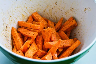Spicy Sweet Potato Fries found on KalynsKitchen.com