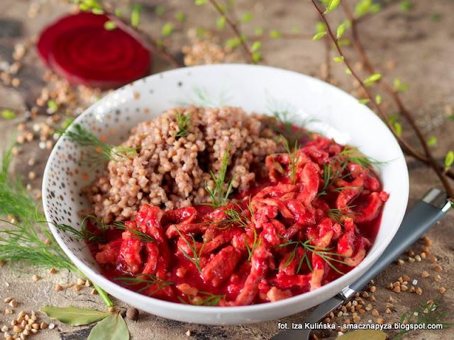 wereszczaka litewska, przepis na wereszczake, wereszczaka po litewsku, zakwas na barszcz, wieprzowina, schab srodkowy, szybkie danie, co na obiad, kwas buraczany, mieso w sosie buraczkowym