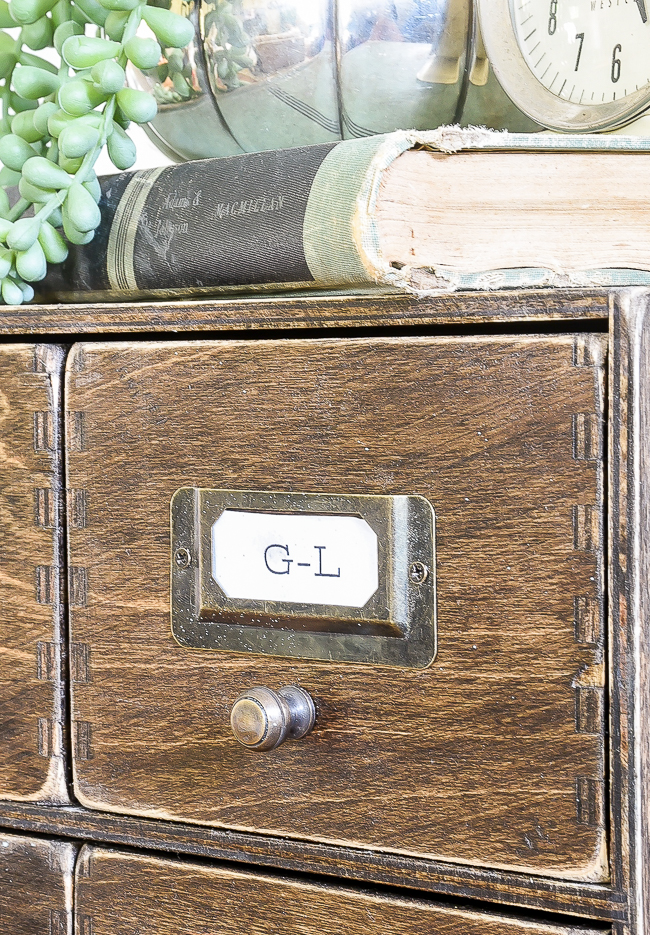 Brass hardware on faux card catalog