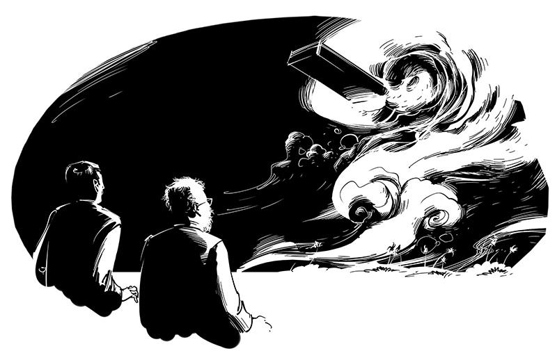 horror illustration floating coffin
