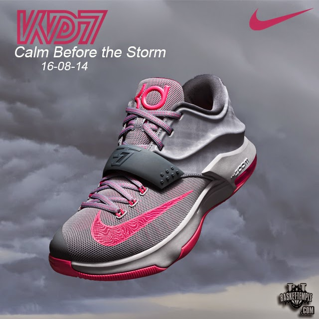 CALM BEFORE THE STORM The grey and pink color way of this KD7 is indicative  of skies that appear tranquil before the onset of a powerful storm fee35de11b