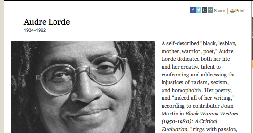 audre lorde essay Presenting the essential writings of black lesbian poet and feminist writer audre lorde, sister outsider celebrates an influential voice in in this charged collection of fifteen essays and speeches.