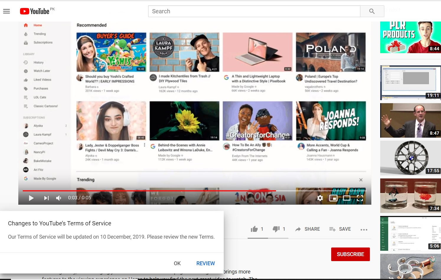 YouTube notifies users about its revised Terms of Services