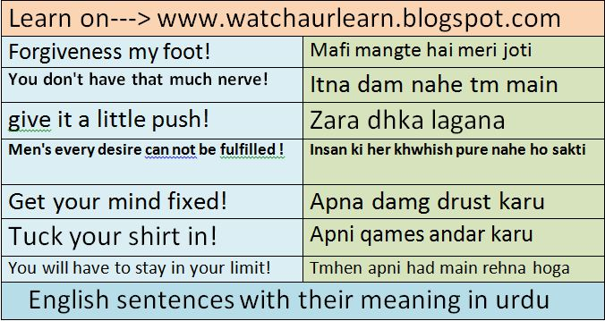 English In Urdu New Sentences Of 2016 Watch And Learn