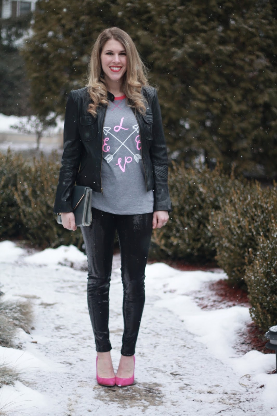 Valentine's Day Graphic Tee- Day to Night, Love graphic tee, Ugg cardy boots, herringbone vest, sequined leggings, black moto jacket, pink heels