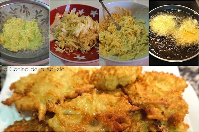 Tortitas de calabacín y patata, latkes.