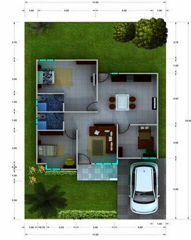 Contoh Denah Desain Rumah Mungil Minimalis Modern 2015