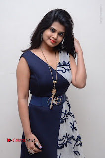 Telugu Actress Alekhya Stills in Blue Long Dress at Plus One ( 1) Audio Launch  0006.jpg