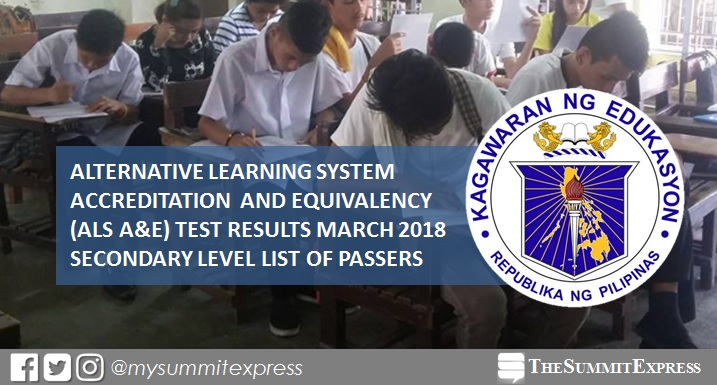 DepEd ALS A&E Test Result March 2018: Secondary