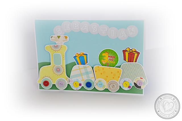 Urodzinowa kartka z ciuchcią dla Sebastiana