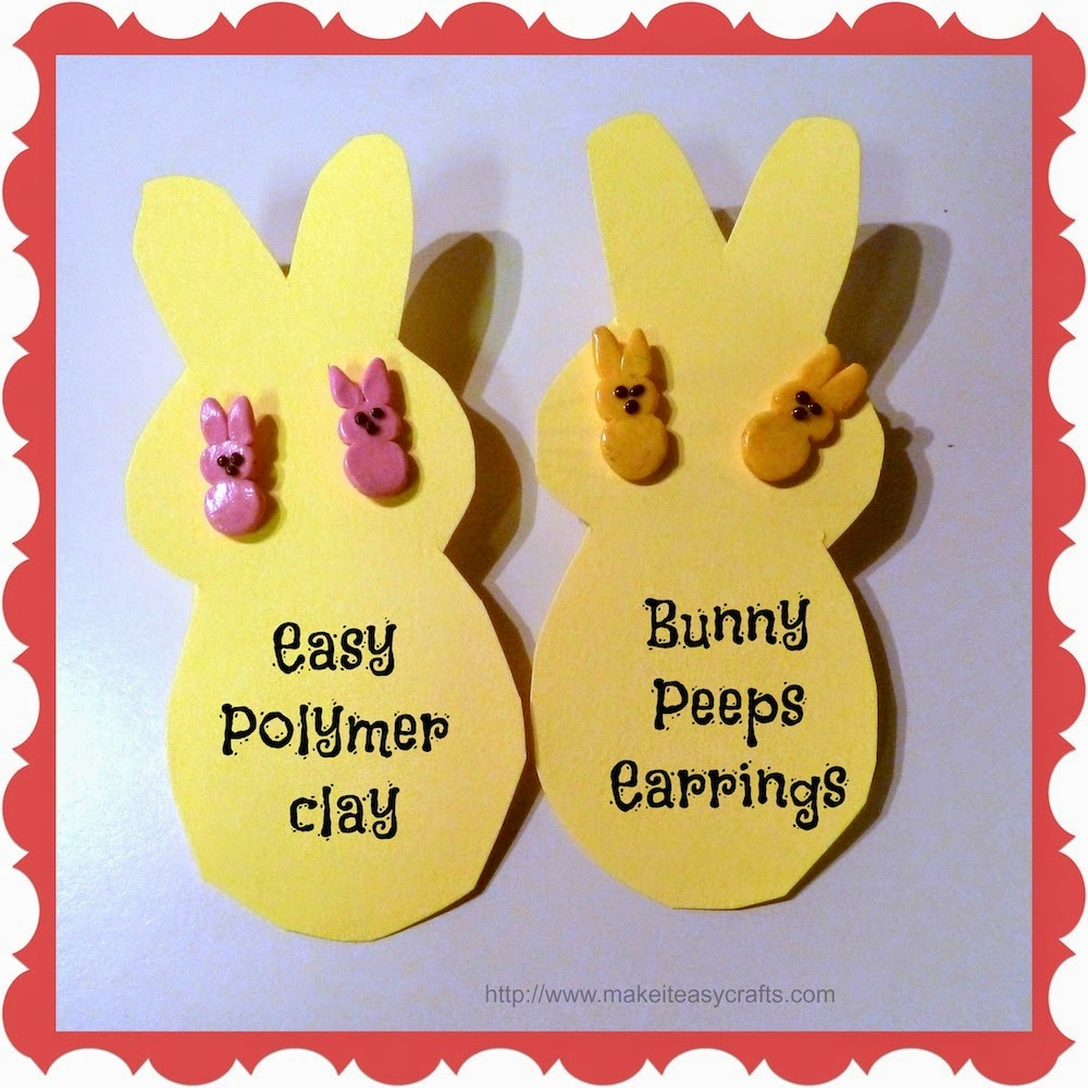 Polymer clay bunny peeps earrings