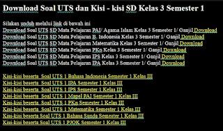 Download Soal UTS dan Kisi - kisi SD Kelas 3 Semester 1