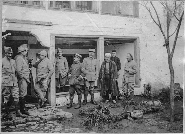 In the streets of Monastir (Bitola) (February 1917). Colonel Soubiran and his regimental staff