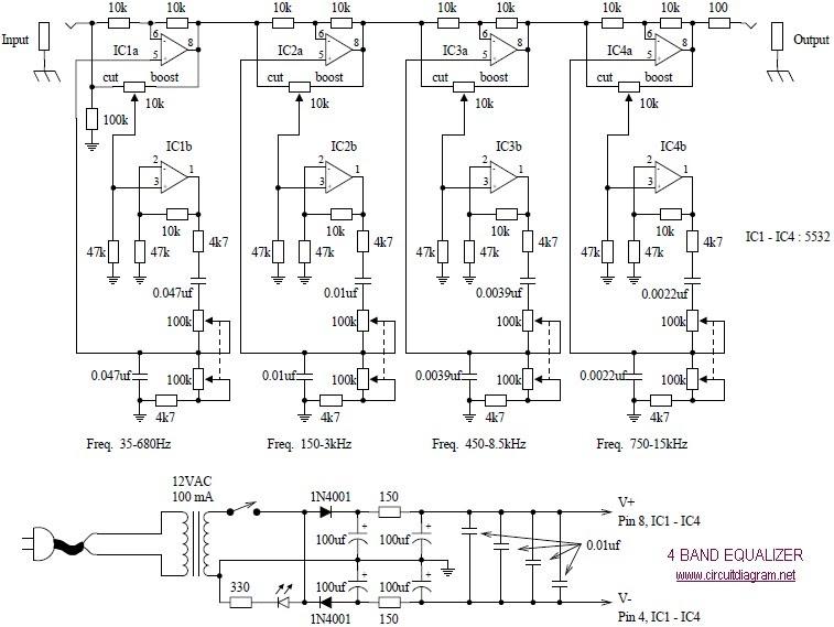 Diagram circuit: 4 Band Equalizer schematic diagram