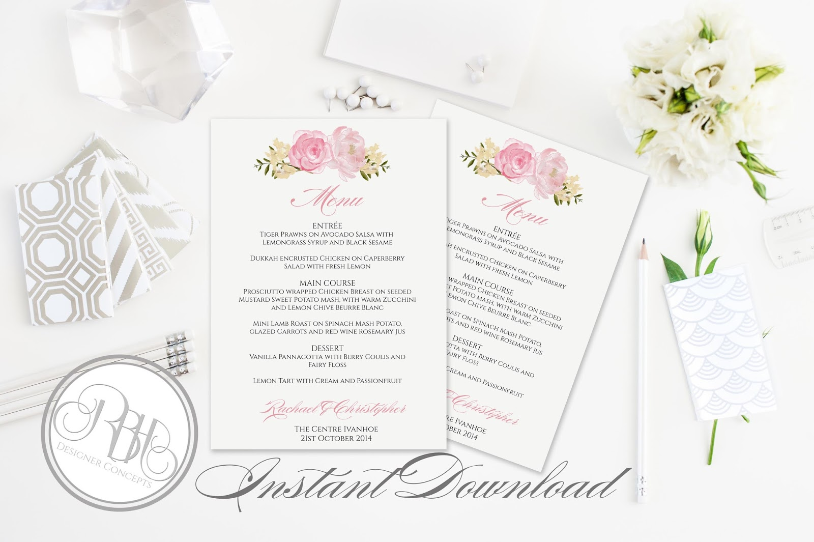 Dusty Pink Peonies Wedding-INVITE, RSVP, SAVE THE DATE, MENU ...