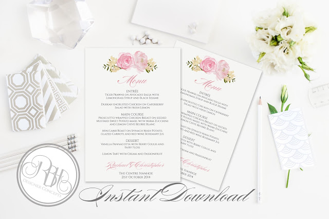 Dusty Pink Peonies, Roses Menu template