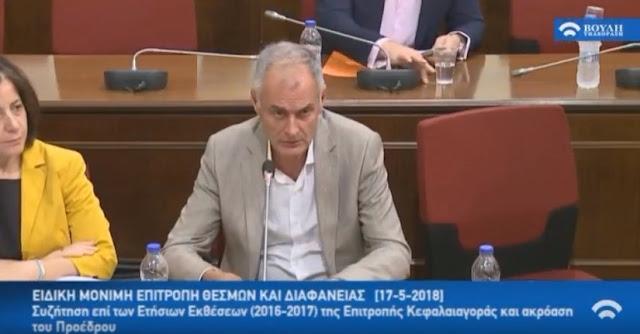 Ερωτήσεις του Γ. Γκιόλα προς την επιτροπη κεφαλαιαγοράς στην ενημέρωση της επιτροπής θεσμών και διαφάνειας (βίντεο)