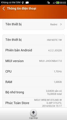Tiếng Việt redmi HM Note 1W mt6582 alt