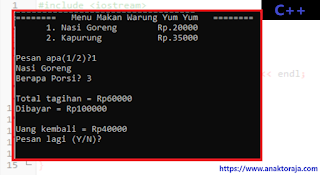 Contoh Program Switch Case Dengan OR C++