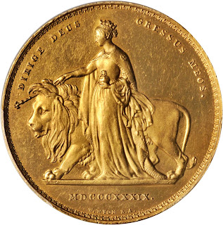 "Great Britain 5 Pounds Gold Coin 1839 Queen Victoria ""Una and the Lion"""