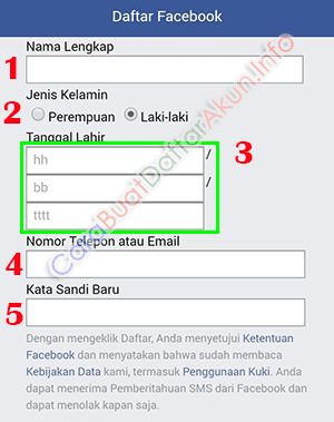 cara daftar akun facebook baru lewat hp
