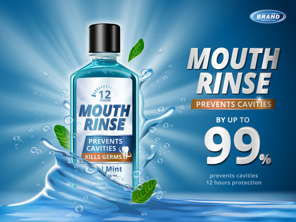 Creative mouth rinse ads template free vector