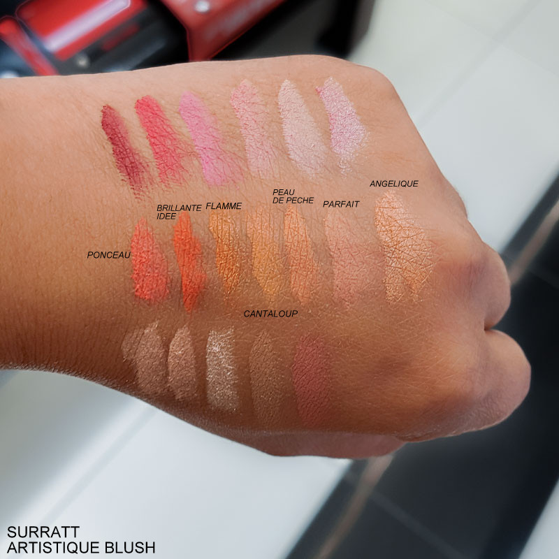 Surratt Beauty Artistique Blushes - Swatches Brillante Idee - Flamme - Cantaloup - Peau de Peche - Parfait - Angelique