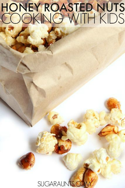 Make honey roasted peanuts with this easy cooking with kids recipe and add this high protein snack to lunches or snack time for kids.