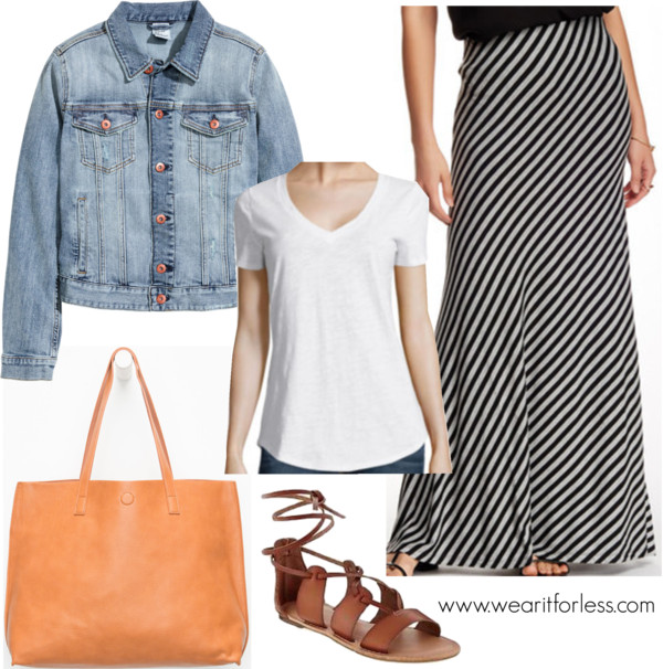 Reversible Faux Leather Tote • $9.99 Lace Up Gladiator Sandal • $26 H&M - Denim Jacket - Denim blue - Ladies • H&M • $29.99 STYLUS Stylus Relaxed Fit Slub V-Neck T-Shirt • $7.99 Adrienne Vittadini Maxi Skirt • Adrienne Vittadini • $19.97