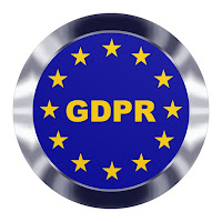 Blue GDPR button with gold stars and silver edge