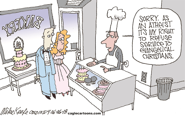 Baker to bridal couple:  Sorry, as an atheist, it's my right to refuse service to evangelical