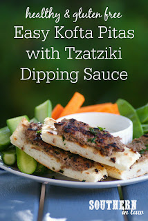 Gluten Free Lamb Kofta Pitas with Tzatziki Dipping Sauce