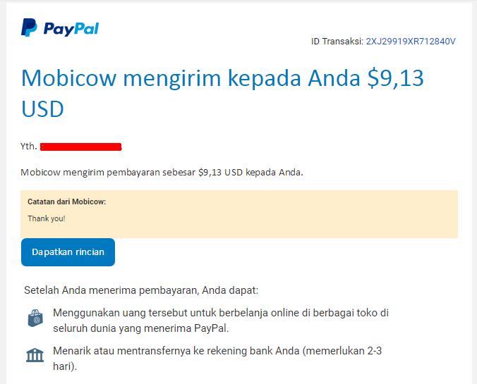 Penghasilan Dari Mobicow Beserta Bukti Pembayarannya