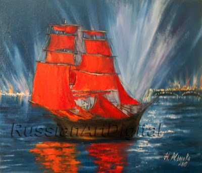 Print Colorful landscape scarlet sails with a sailing vessel Instant Download on Etsy: https://www.etsy.com/shop/RussianArtdigital