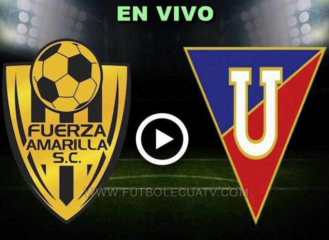 Fuerza Amarilla choca ante Liga de Quito en vivo 📲 desde las 15h00 a realizarse en el estadio nueve de mayo prosiguiendo la fecha quince del campeonato ecuatoriano, siendo el árbitro principal de esta contienda Luis Quiroz con emisión del canal autorizado GolTV.
