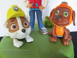 cães patrulha pata modelados pasta açucar doces opções bragança