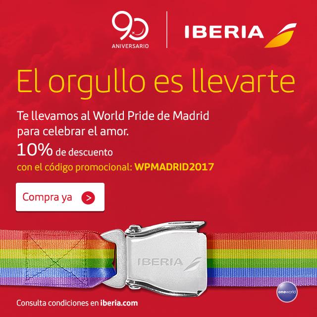 Iberia, línea aérea oficial del WorldPride Madrid 2017 lgbt