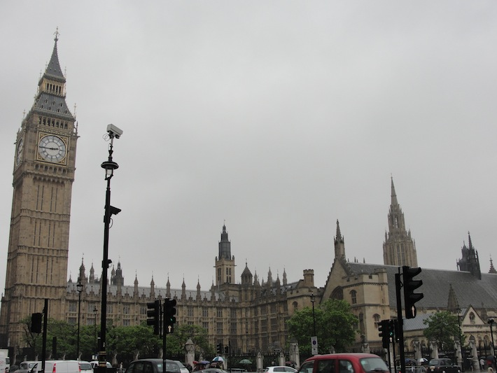 Big Ben in London on a rainy June day