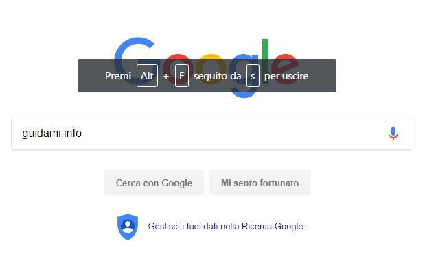 Suggerimento scorciatoia per chiusura Chrome in sovrimpressione