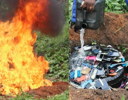 Management of The Polytechnic Ibadan burns phones seized from students during Examinations