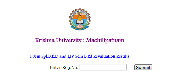 Krishna University KRU B.Ed Exam Revaluation Results 2017