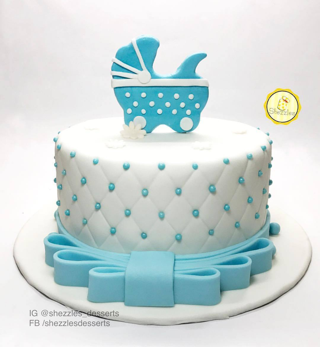 Baby Boy Baptism Cake And Cupcakes