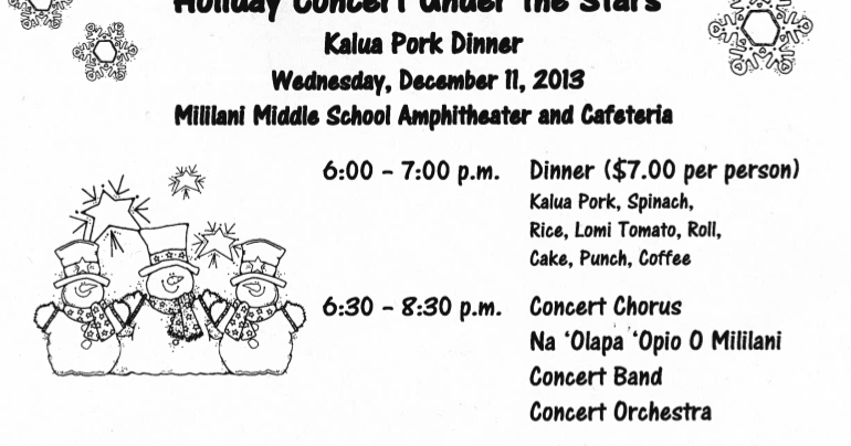 Winter Concert and Dinner Set for 12/11 | Mililani Middle School